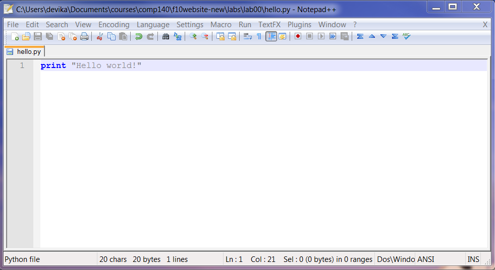 how to get notepad++ to run python
