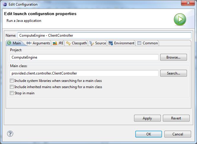 Comp310: Eclipse - Edit Launch Config